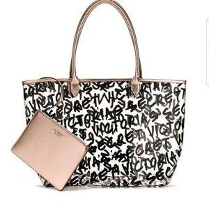 NWT Victoria's Secret Graffiti Logo Tote Bag